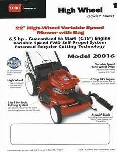 Operators Manual Instruction Book Toro High Wheel 22