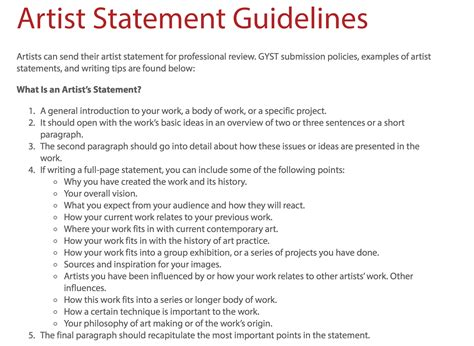 artist statement guidelines pinned  mary scott arted