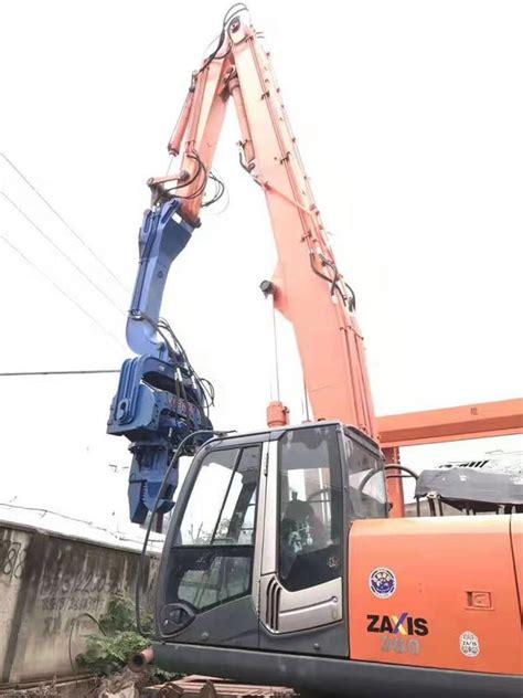 mpa excavator mounted pile driver larsen driving sheet piles  excavator