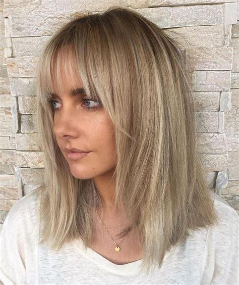 Ash Hairstyles Medium Hair by Ash Lob With Bangs Gorgeous Wavy Hair Medium