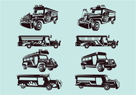 philippines jeepney vector set vector illustration of jeepney download free vector