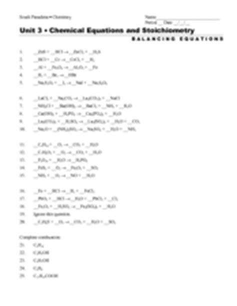Chemical Equations And Stoichiometry 10th  11th Grade Worksheet  Lesson Planet