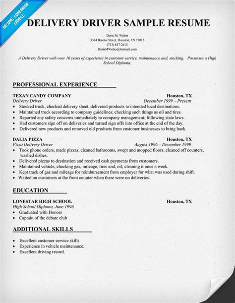 Resume Template For Truck Driving by Delivery Driver Resume Sle Delivery Stores