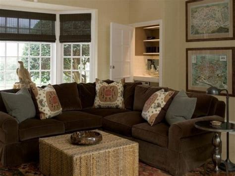 Blue Living Room With Brown Sectional Brown Sofa Design