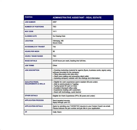 If you have one, you likely possess many of the core skills they want to find, including communication , organizational , time management , and similar skills. 13+ Administrative Assistant Job Description Templates - Free PDF, Google Docs, Apple Pages ...