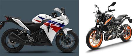 cbr top model price 2017 ktm 200 duke vs honda cbr 250r price feature and