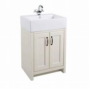 White Traditional Bathroom Vanity Unit Basin 570mm