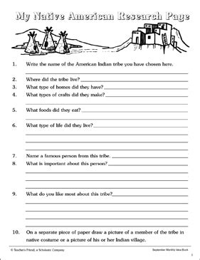 native american research page printable skills sheets