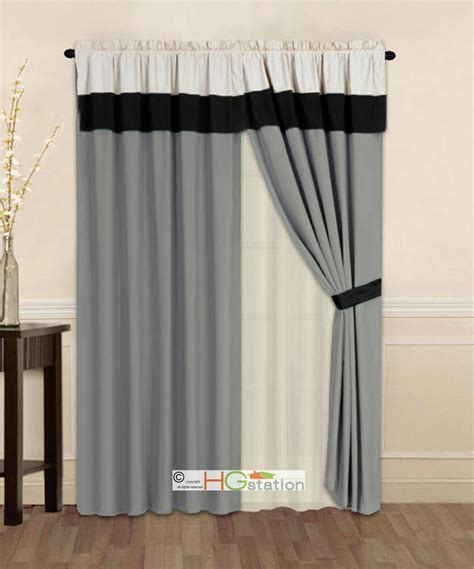 Silver Gray Valances by 4 P Striped Solid Modern Curtain Set Silver Gray Black