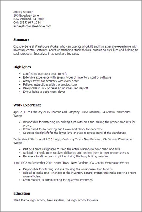 warehouse resume template 1 general warehouse worker resume templates try them now myperfectresume