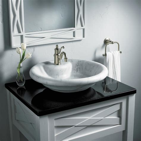 black bathroom countertops  marble vessel sinks