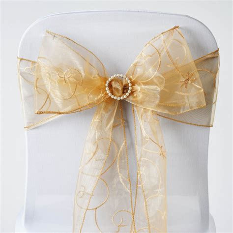 200 x wholesale embroidered organza chair sashes ties bows