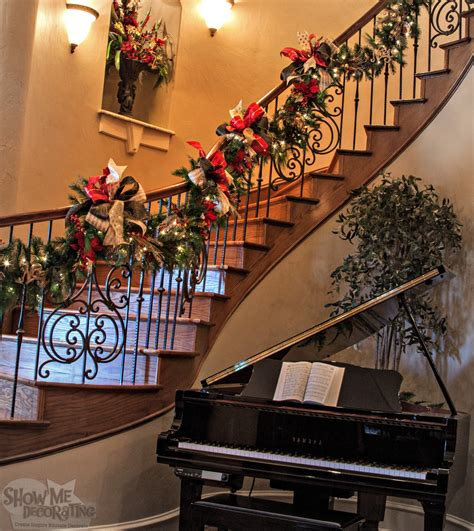 Banister Decorations For Christmas by Show Me Decorating Create Inspire Educate Decorate