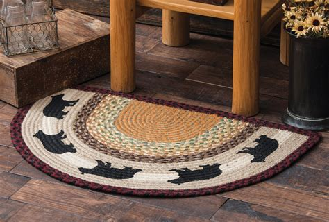 Wildlife Rugs: Black Bear Half Round Braided Rug Black Forest Decor