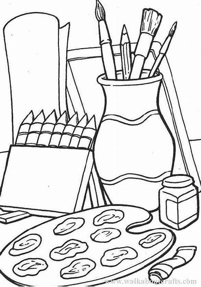 Supplies Drawing Coloring Pages Clipart Colouring Crafts
