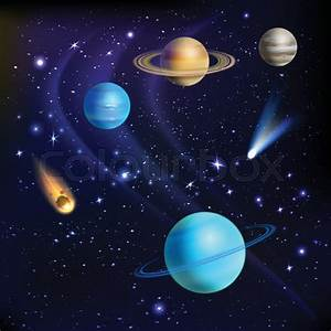 Space background with solar system planets comets and ...