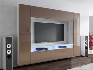 Tv Wand Modern : kaufexpert wohnwand cinema cappuccino hochglanz wei 280 ~ Michelbontemps.com Haus und Dekorationen