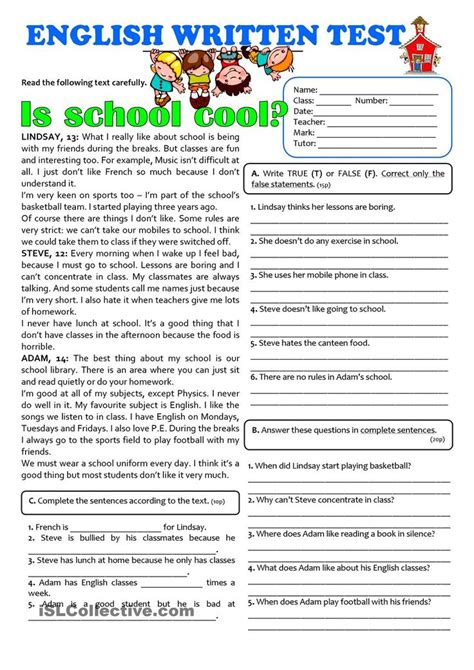 is school cool 7th grade test esl worksheets of the