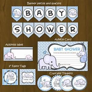 Light Blue Elephant Baby Shower Printable Package ...