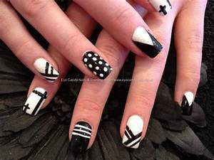 Acrylic overlay with black and white multi design nail art ...