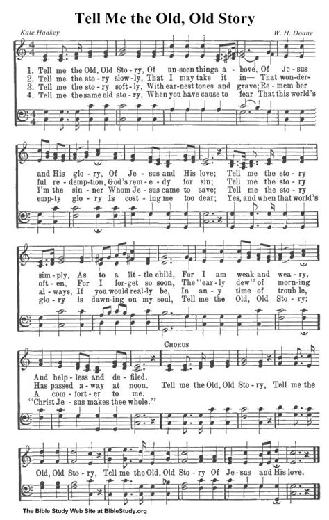 Old Hymns  Tell Me The Old, Old Story Hymn Sheet Music