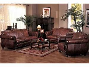 Brown, Leather, Living, Room, Set