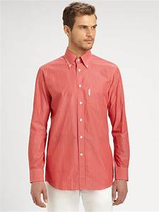 Façonnable Striped Casual Dress Shirt in Red for Men | Lyst