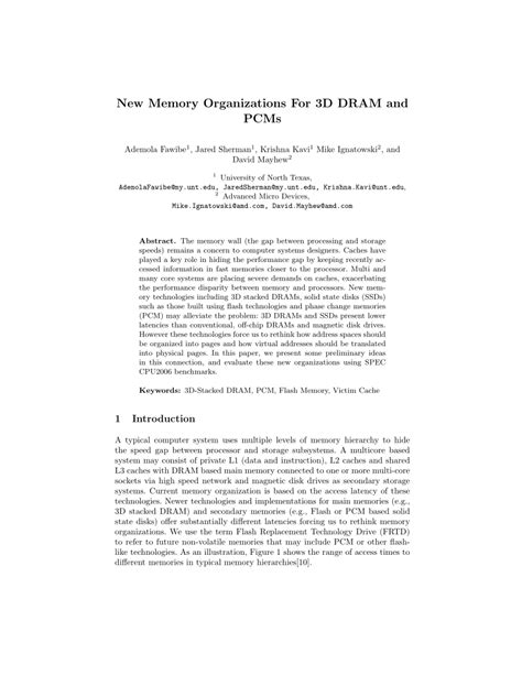 (PDF) New Memory Organizations for 3D DRAM and PCMs
