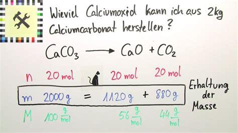 herstellung von calciumcarbonat berechnung uebungsvideo