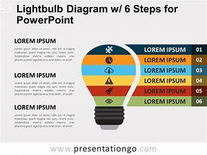 Light Bulb Diagram With 6 Steps For Powerpoint