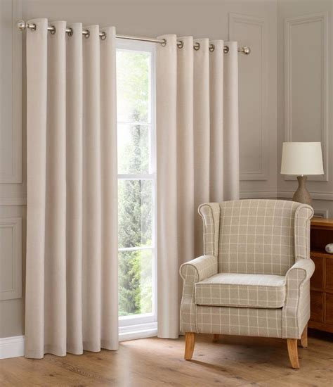 Montana Lined Eyelet Ring Top Linen Look Curtains