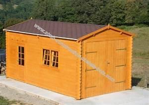Garage Bois En Kit : kit garage bois 22 m au sol en madriers embo t s de 44 mm ~ Premium-room.com Idées de Décoration