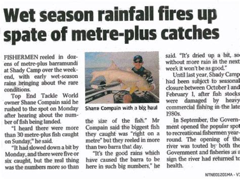 news article recent nt news articles on barra fishing