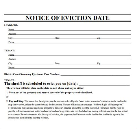 sample eviction notice template   documents