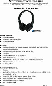 Newtech Electronics Bh145 Bluetooth Headphone User Manual To