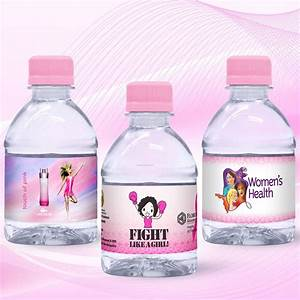 8 oz custom label spring water w pink flat cap clear With clear water bottle labels