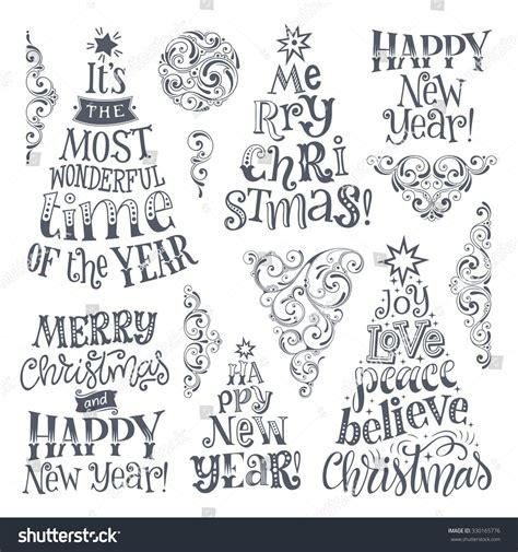 Fensterdeko Weihnachten Plotten by Vector Set Of Holidays Lettering And Ornamental Elements