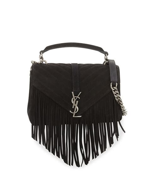 saint laurent monogram fringe college suede shoulder bag