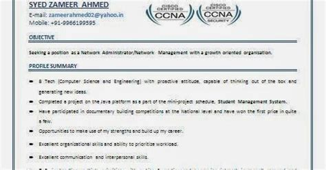 Resume Format For Ccna Freshers by Ccna Resume For Freshers