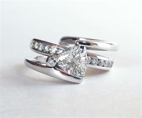 trillion diamond modern wedding ring set ambrosia