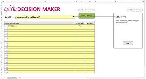 quick decision maker excel template excel templates