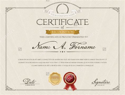 sample certificate  recognition template  documents