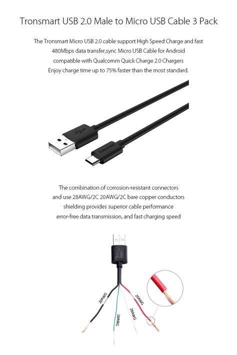 tronsmart usb 2 0 to micro usb sync charging cables 3 pack