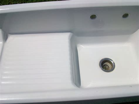 cast iron sinks for sale vintage single basin left side drainboard porcelain over