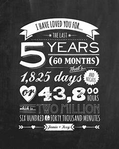 personalised anniversary blackboard print holiday With 5 year wedding anniversary gift ideas