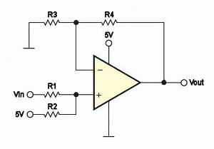 level shifting a 25v signal to 0 5v electrical With opamp levelshifting