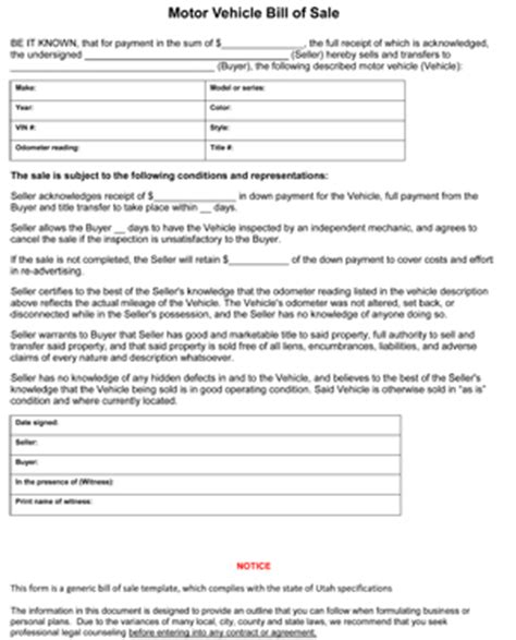 utah car bill of sale form utah vehicle bill of sale form 8ws templates forms
