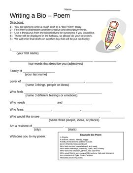 bio poem template bio poem template with exle by the bright bunch tpt
