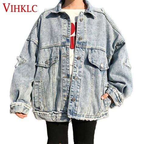 vihklc s denim jacket baggy boyfriend style ripped fit vintage ripped distressed