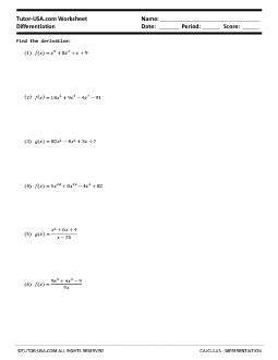 Worksheet Differentiation  Derivatives Of Polynomials  Calculus Printable